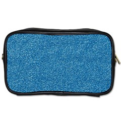 Festive Blue Glitter Texture Toiletries Bags 2 Side by yoursparklingshop