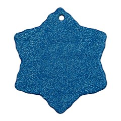 Festive Blue Glitter Texture Snowflake Ornament (2 Side) by yoursparklingshop