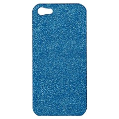 Festive Blue Glitter Texture Apple Iphone 5 Hardshell Case by yoursparklingshop