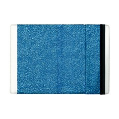 Festive Blue Glitter Texture Apple Ipad Mini Flip Case by yoursparklingshop