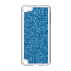 Festive Blue Glitter Texture Apple Ipod Touch 5 Case (white) by yoursparklingshop