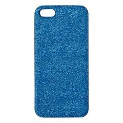 Festive Blue Glitter Texture Apple Iphone 5 Premium Hardshell Case by yoursparklingshop