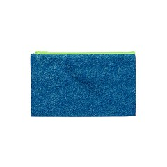 Festive Blue Glitter Texture Cosmetic Bag (xs) by yoursparklingshop
