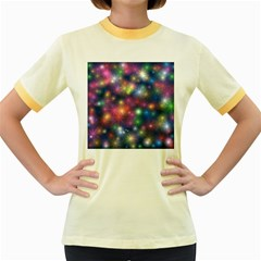 Starlight Shiny Glitter Stars Women s Fitted Ringer T Shirts by yoursparklingshop