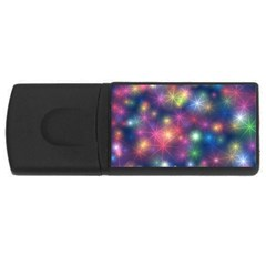 Starlight Shiny Glitter Stars Usb Flash Drive Rectangular (4 Gb)  by yoursparklingshop