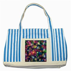 Starlight Shiny Glitter Stars Striped Blue Tote Bag by yoursparklingshop