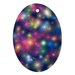 Starlight Shiny Glitter Stars Oval Ornament (two Sides) by yoursparklingshop