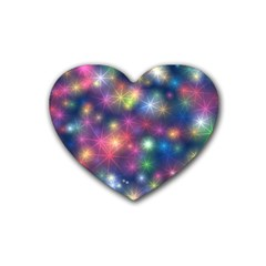 Starlight Shiny Glitter Stars Heart Coaster (4 Pack)  by yoursparklingshop