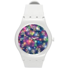 Starlight Shiny Glitter Stars Round Plastic Sport Watch (m) by yoursparklingshop