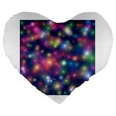 Starlight Shiny Glitter Stars Large 19  Premium Heart Shape Cushions by yoursparklingshop
