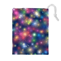 Starlight Shiny Glitter Stars Drawstring Pouches (extra Large) by yoursparklingshop