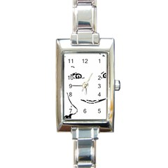 Portrait Black And White Girl Rectangle Italian Charm Watch by yoursparklingshop