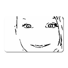Portrait Black And White Girl Magnet (rectangular) by yoursparklingshop