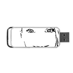 Portrait Black And White Girl Portable Usb Flash (one Side) by yoursparklingshop