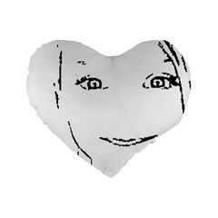 Portrait Black And White Girl Standard 16  Premium Flano Heart Shape Cushions by yoursparklingshop