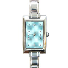 Blue White Chevron Rectangle Italian Charm Watch by yoursparklingshop
