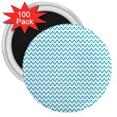 Blue White Chevron 3  Magnets (100 Pack) by yoursparklingshop