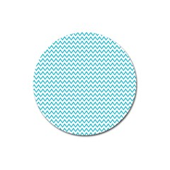 Blue White Chevron Magnet 3  (round) by yoursparklingshop