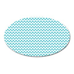 Blue White Chevron Oval Magnet by yoursparklingshop