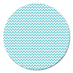Blue White Chevron Magnet 5  (round) by yoursparklingshop
