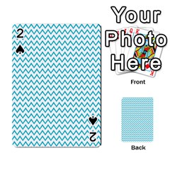 Blue White Chevron Playing Cards 54 Designs  by yoursparklingshop