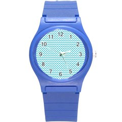 Blue White Chevron Round Plastic Sport Watch (s) by yoursparklingshop