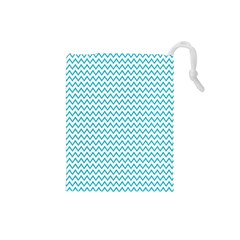 Blue White Chevron Drawstring Pouches (small)