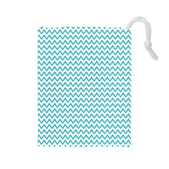 Blue White Chevron Drawstring Pouches (large)  by yoursparklingshop