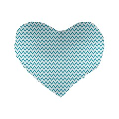 Blue White Chevron Standard 16  Premium Flano Heart Shape Cushions by yoursparklingshop