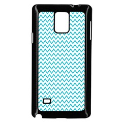 Blue White Chevron Samsung Galaxy Note 4 Case (black) by yoursparklingshop