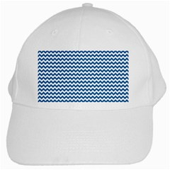 Dark Blue White Chevron  White Cap by yoursparklingshop