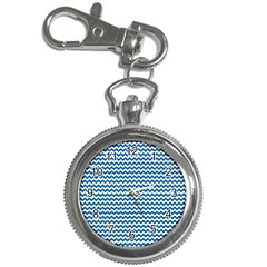 Dark Blue White Chevron  Key Chain Watches by yoursparklingshop