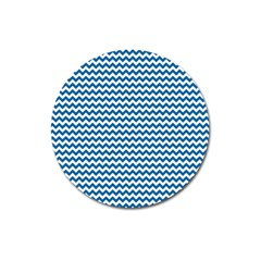 Dark Blue White Chevron  Magnet 3  (round) by yoursparklingshop