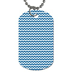Dark Blue White Chevron  Dog Tag (one Side) by yoursparklingshop