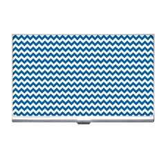 Dark Blue White Chevron  Business Card Holders by yoursparklingshop