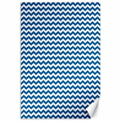 Dark Blue White Chevron  Canvas 12  X 18   by yoursparklingshop