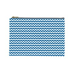 Dark Blue White Chevron  Cosmetic Bag (large)  by yoursparklingshop