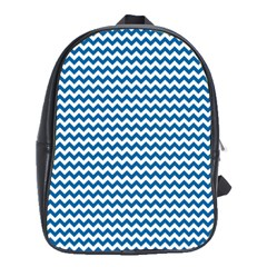 Dark Blue White Chevron  School Bags(large)  by yoursparklingshop