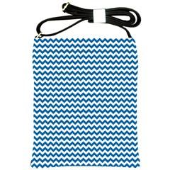 Dark Blue White Chevron  Shoulder Sling Bags by yoursparklingshop