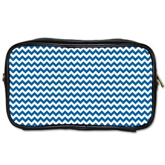 Dark Blue White Chevron  Toiletries Bags 2 Side by yoursparklingshop