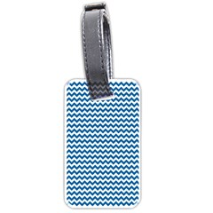 Dark Blue White Chevron  Luggage Tags (two Sides) by yoursparklingshop