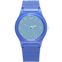 Dark Blue White Chevron  Round Plastic Sport Watch (s) by yoursparklingshop