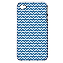 Dark Blue White Chevron  Apple Iphone 4/4s Hardshell Case (pc+silicone) by yoursparklingshop