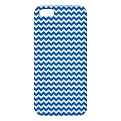 Dark Blue White Chevron  Apple Iphone 5 Premium Hardshell Case