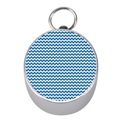 Dark Blue White Chevron  Mini Silver Compasses by yoursparklingshop
