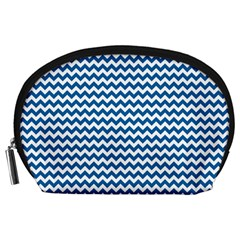 Dark Blue White Chevron  Accessory Pouches (large)  by yoursparklingshop