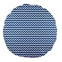 Dark Blue White Chevron  Large 18  Premium Flano Round Cushions by yoursparklingshop