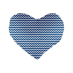 Dark Blue White Chevron  Standard 16  Premium Flano Heart Shape Cushions by yoursparklingshop