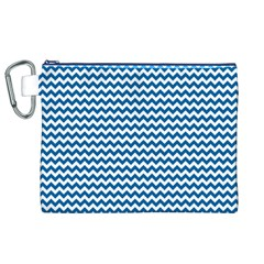 Dark Blue White Chevron  Canvas Cosmetic Bag (xl)  by yoursparklingshop
