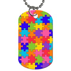 Funny Colorful Puzzle Pieces Dog Tag (two Sides) by yoursparklingshop